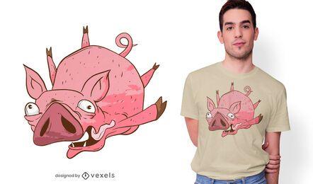Design de t-shirt dos desenhos animados do porco voador