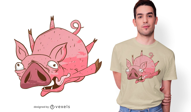Flying Pig Cartoon T-shirt Design