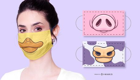 Paquete de mascarillas faciales de animales de granja