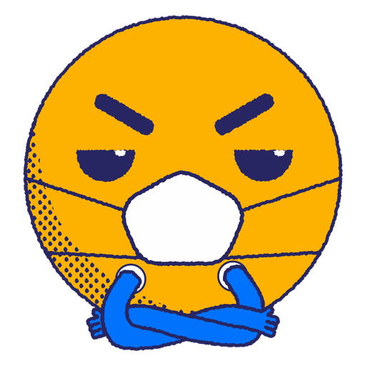 Angry emoji with face mask flat