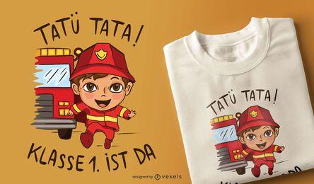 Design de t-shirt alemão de criança de bombeiro