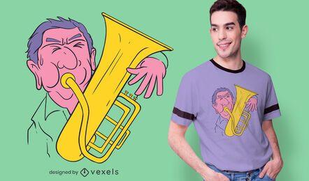 Diseño de camiseta de jugador de saxhorn