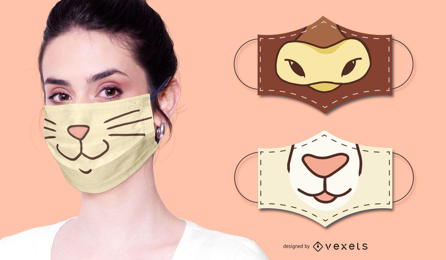 Conjunto de design de máscara facial de animal