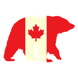 Bear with canada flag flat