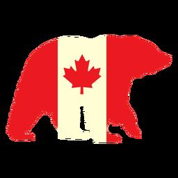 Oso con bandera de canadá plana