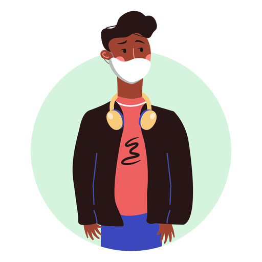 Black man with facemask character