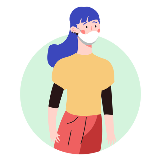 Blue hair girl with facemask character