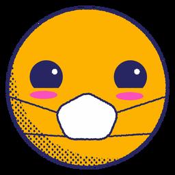 Emoji sonrojado con mascarilla plana