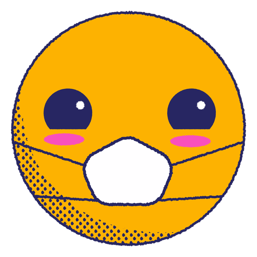 Blushed emoji with face mask flat