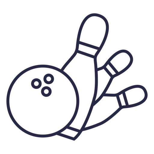 Bowling ball and pins falling icon