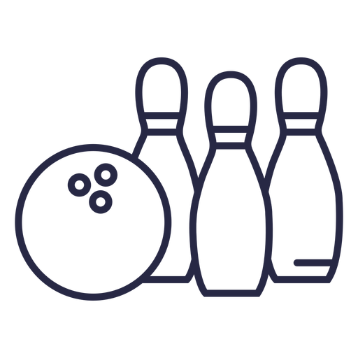Bowling ball and pins icon