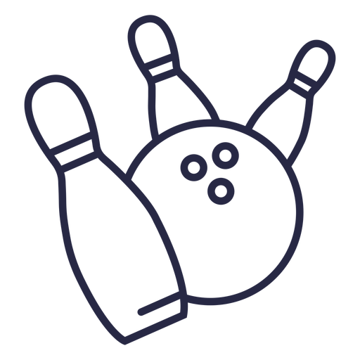 Bowling ball hitting pins icon