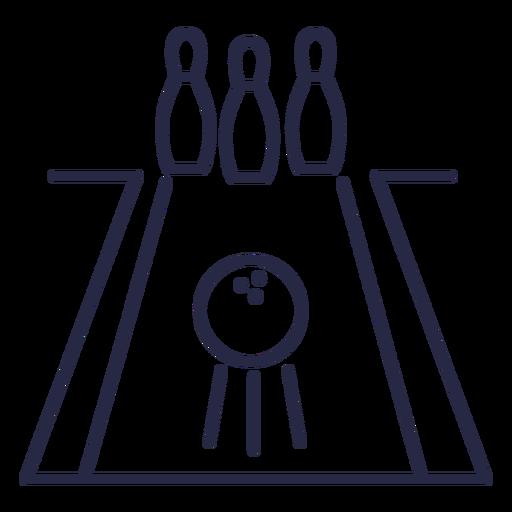 Bowling ball in lane icon