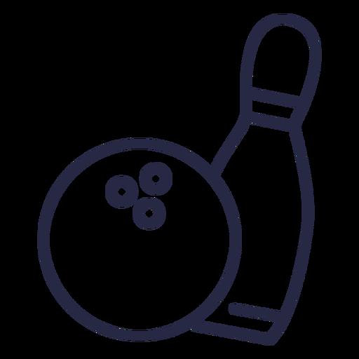Bola de boliche golpeando un icono de pin