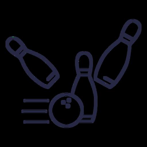 Bowling ball striking pins icon