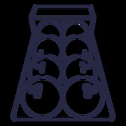 Icono de bolas de bolos alineados
