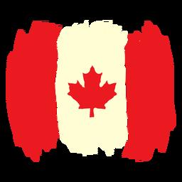 Pincelada com bandeira do Canadá plana