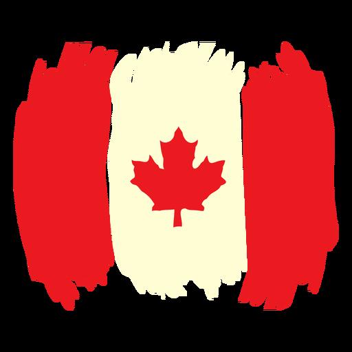 Pincelada bandera de canadá plana