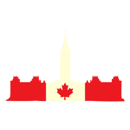 Canadian parlament on flag flat