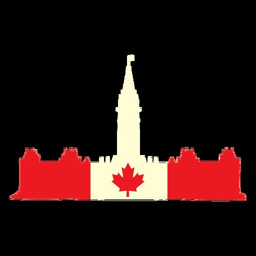 Parlamento canadiense en bandera plana