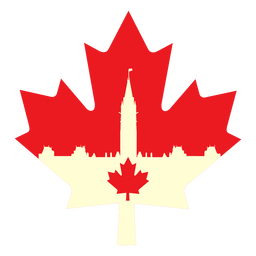 Canadian parlament on maple leaf flat
