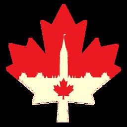 Parlamento canadiense en hoja de arce plana
