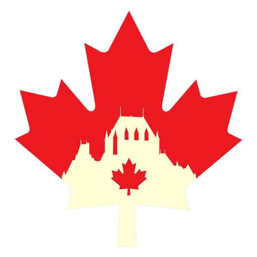 Chateau frontenac on maple leaf flat Transparent PNG