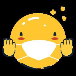Torcendo emoji com máscara facial plana