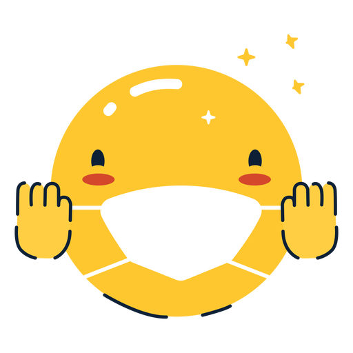 Cheering emoji with face mask flat Transparent PNG
