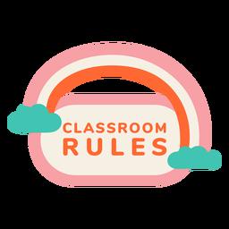 Rótulo de regras da sala de aula