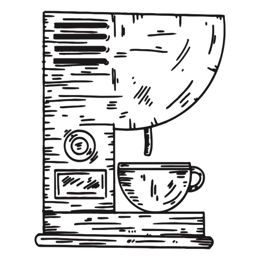 Coffee machine detailed hand drawn Transparent PNG