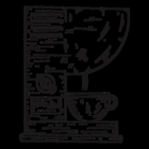 Detalhes da máquina de café desenhados à mão