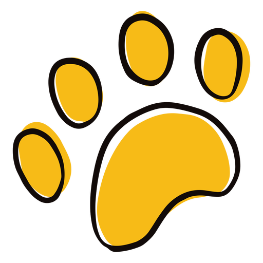 Colored animal paw print doodle Transparent PNG