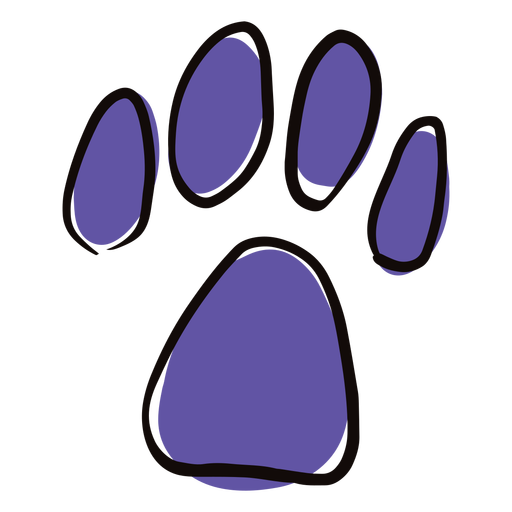Colored paw print doodle