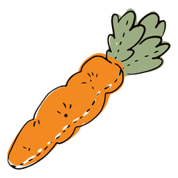 Doodle de zanahoria de trapo coloreado