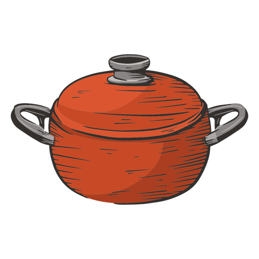 Cooking pot colored hand drawn