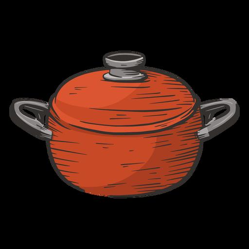 Dibujado a mano olla de cocina color