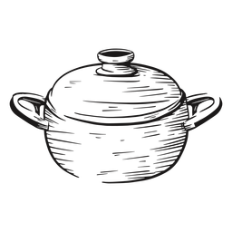 Cooking pot hand drawn