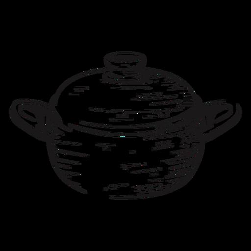 Dibujado a mano olla de cocina