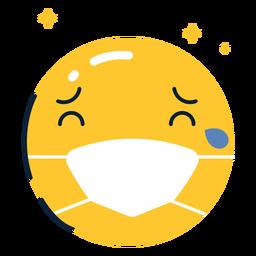 Emoji llorando con mascarilla plana