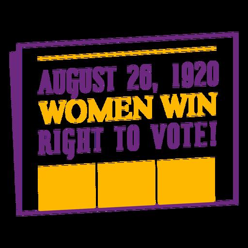 Date of women vote lettering