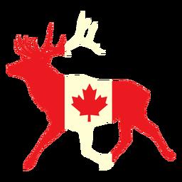 Ciervos con bandera de Canadá plana