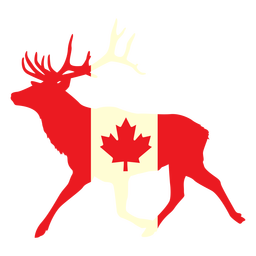 Deer with canada flag flat