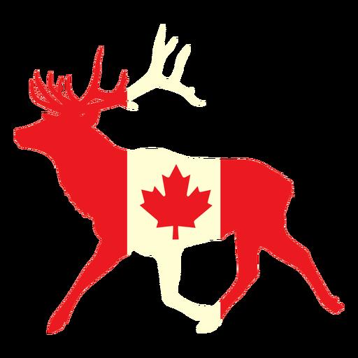 Ciervo con bandera de canad? plana