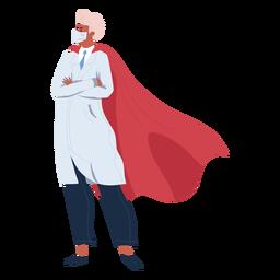 Doctor hero con personaje de capa