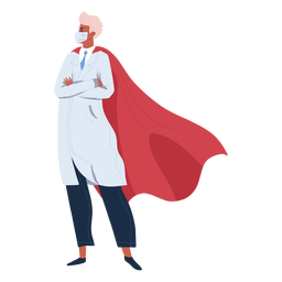 Doctor hero with cape character