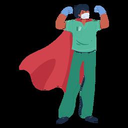Doctor con personaje de capa