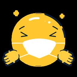 Emoji abrazando con mascarilla plana