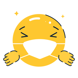 Emoji hugging with facemask flat