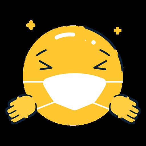 Emoji hugging with facemask flat